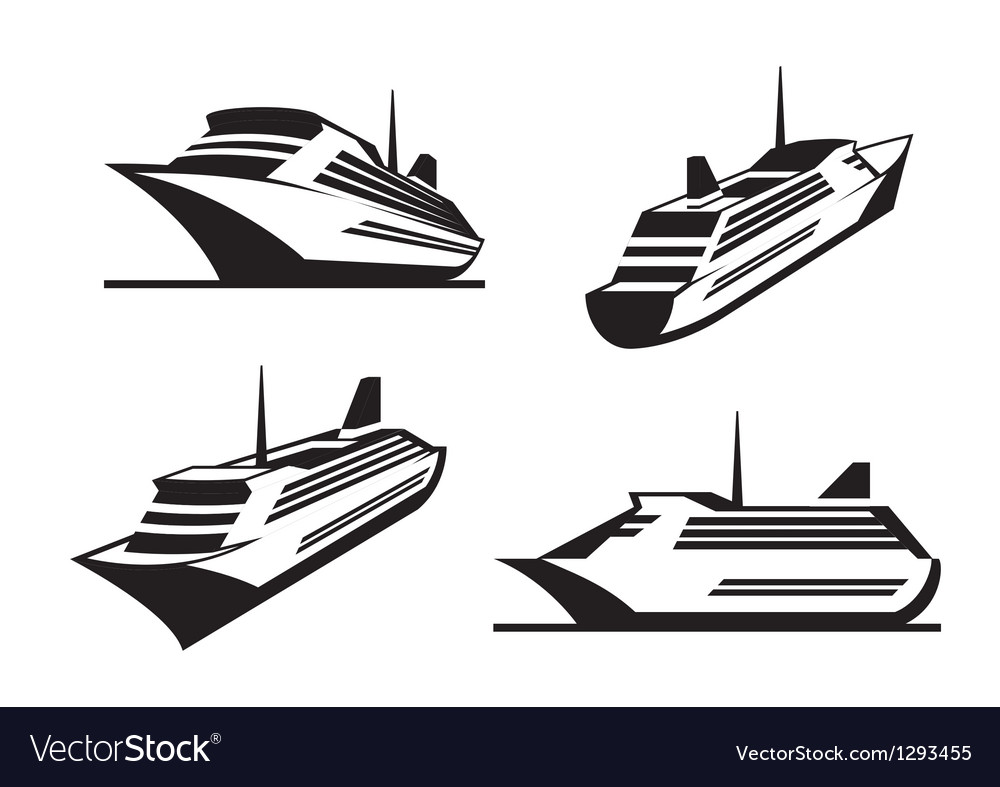 Cruise ships in perspective vector | Price: 1 Credit (USD $1)
