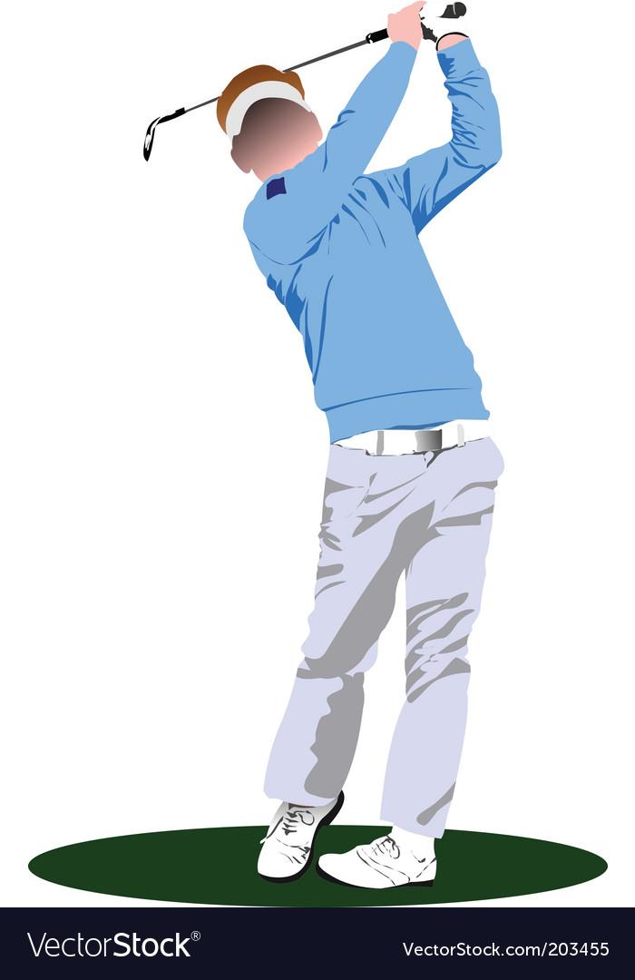 Golfer stencil vector | Price: 1 Credit (USD $1)