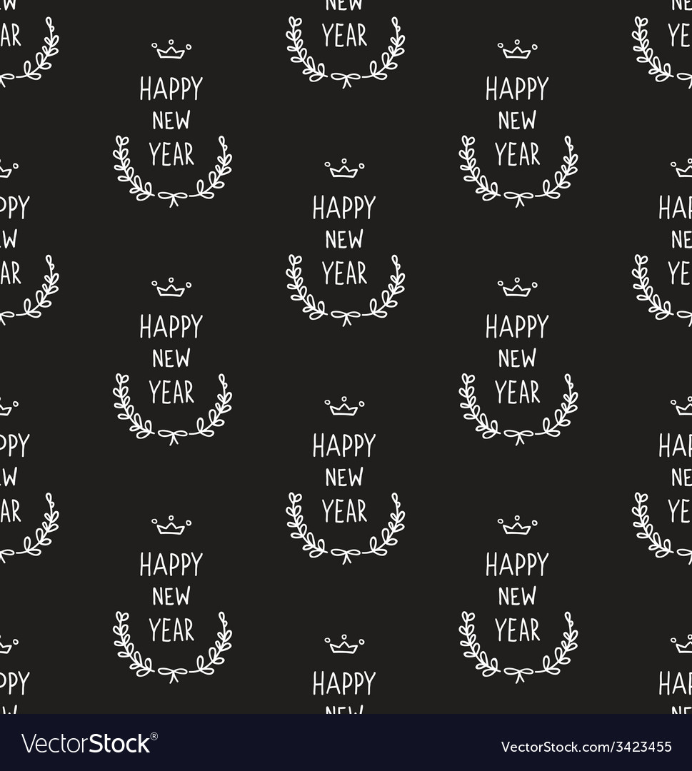 Hand drawn new year pattern blackboard vector | Price: 1 Credit (USD $1)