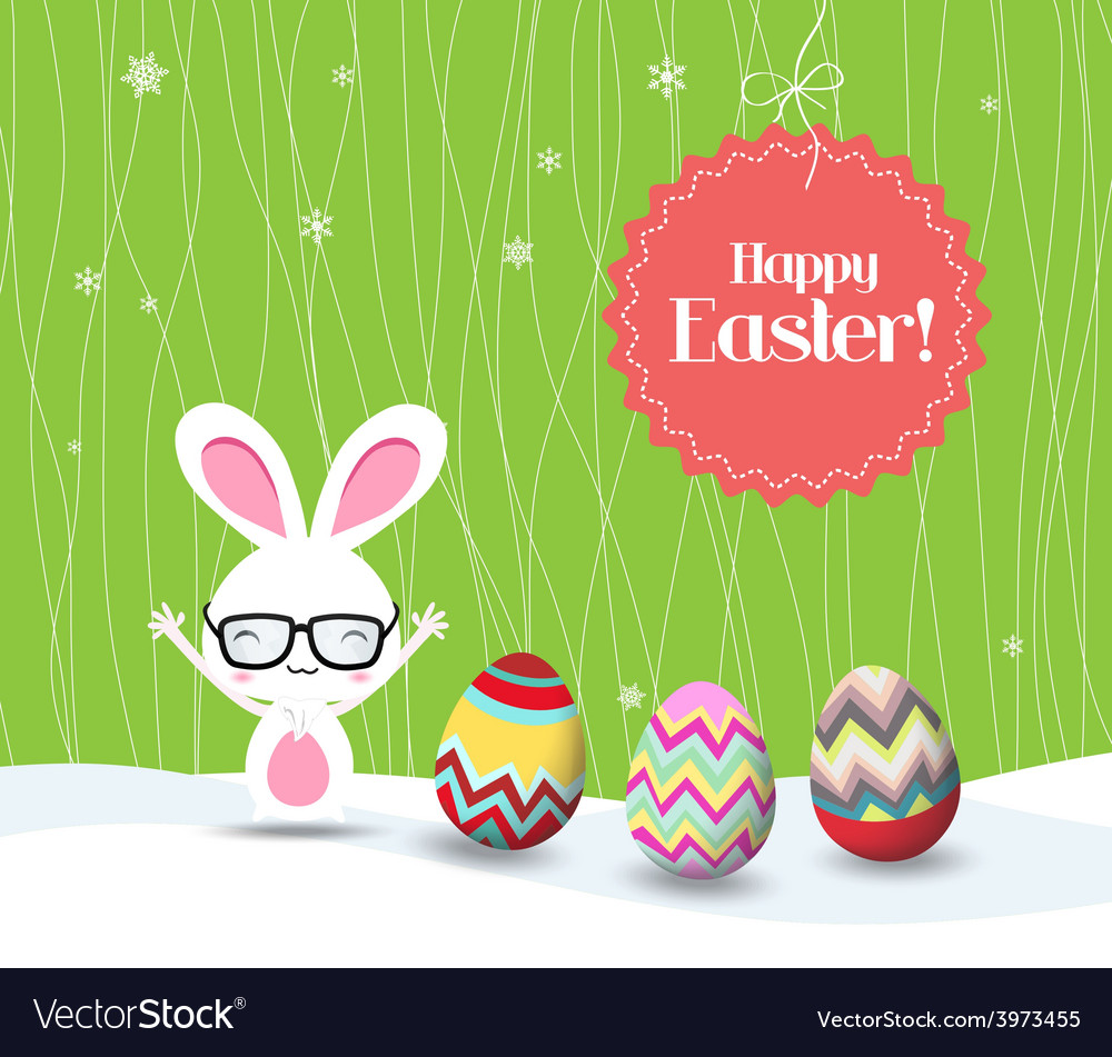Happy easter with bunny and eggs greeting card vector | Price: 1 Credit (USD $1)