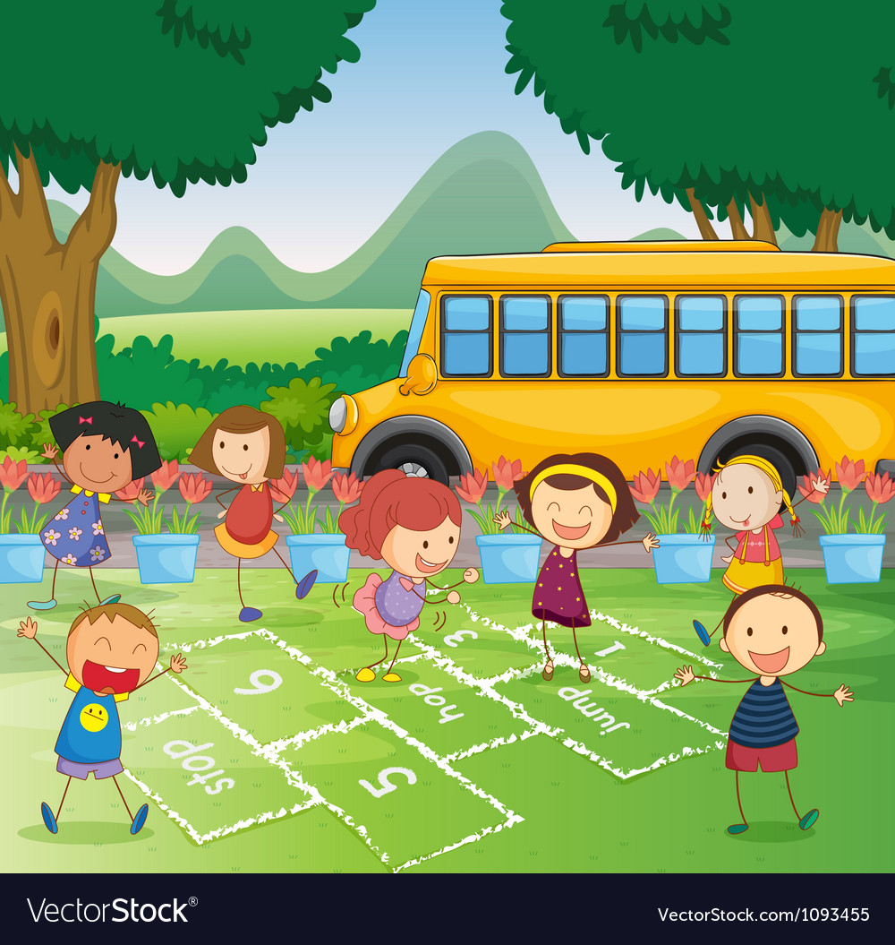 Hopscotch in park vector | Price: 1 Credit (USD $1)