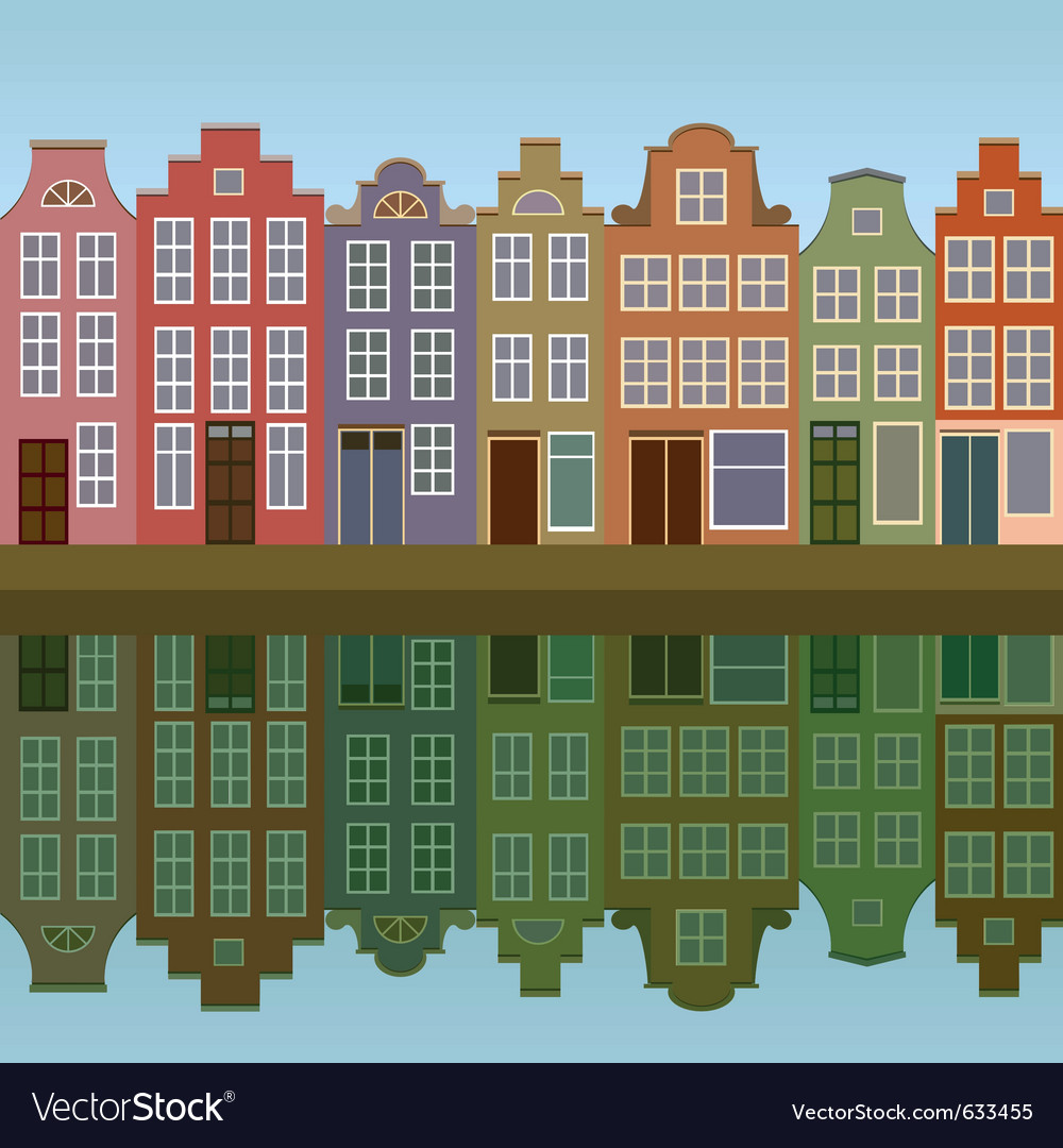Houses on amsterdam canal vector | Price: 1 Credit (USD $1)