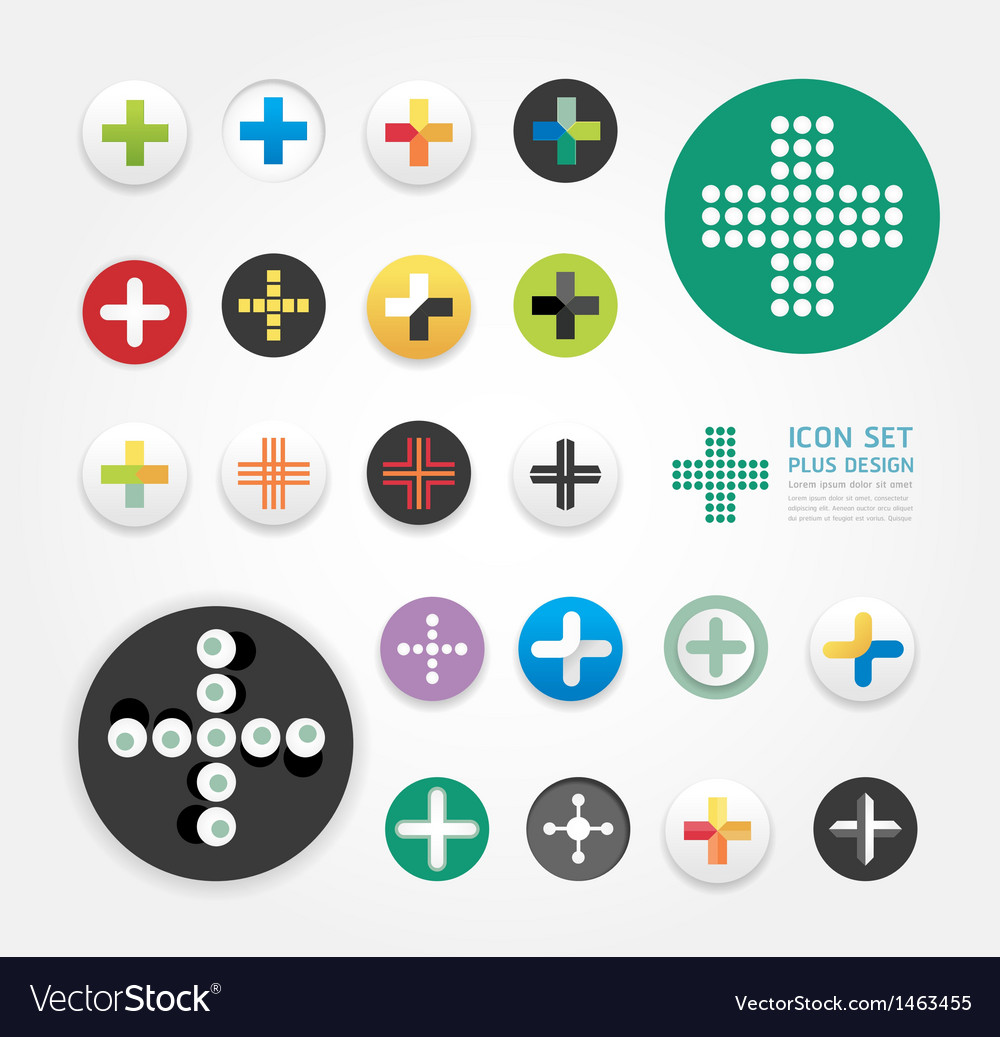 Icons plus design set vector | Price: 1 Credit (USD $1)