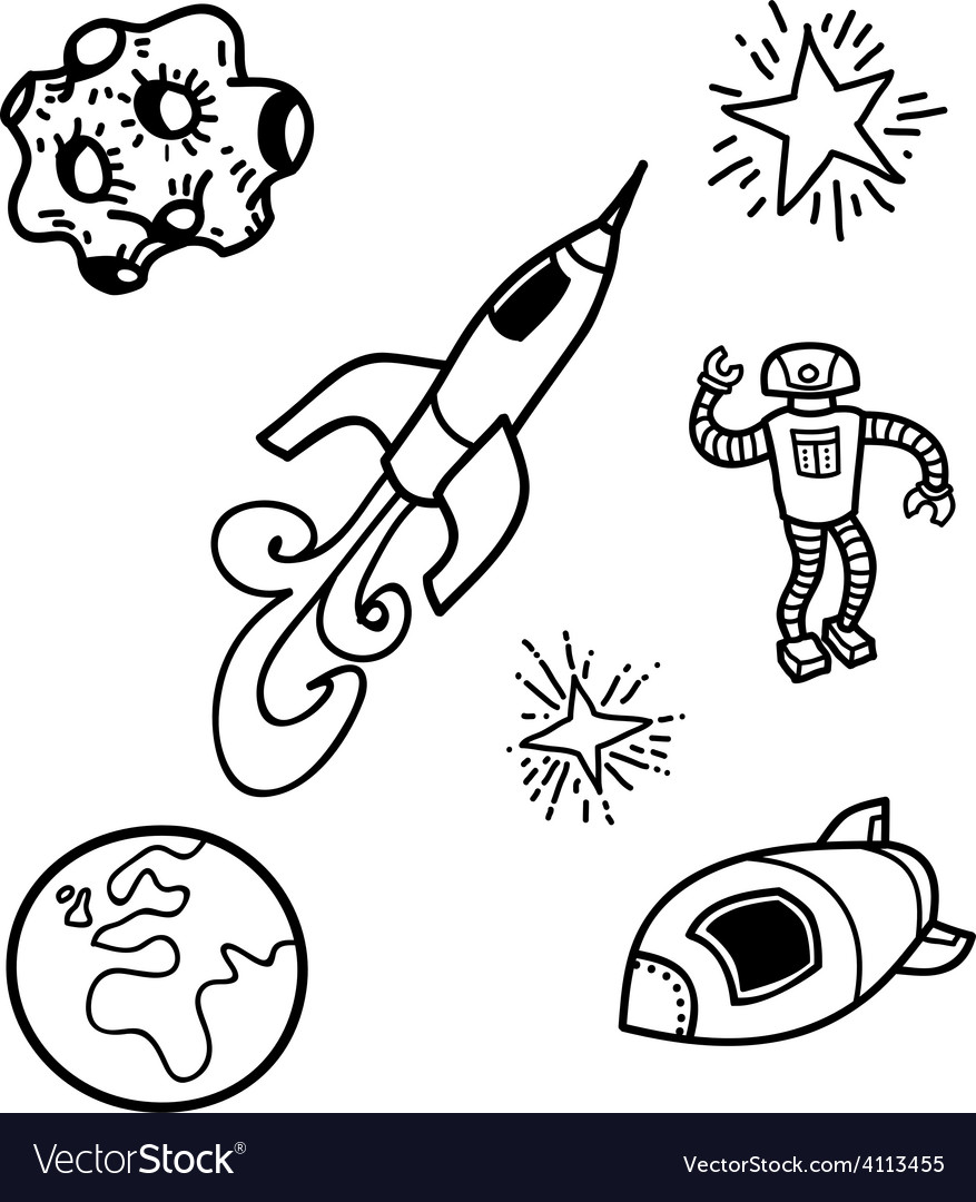 Outer space doodles vector | Price: 1 Credit (USD $1)