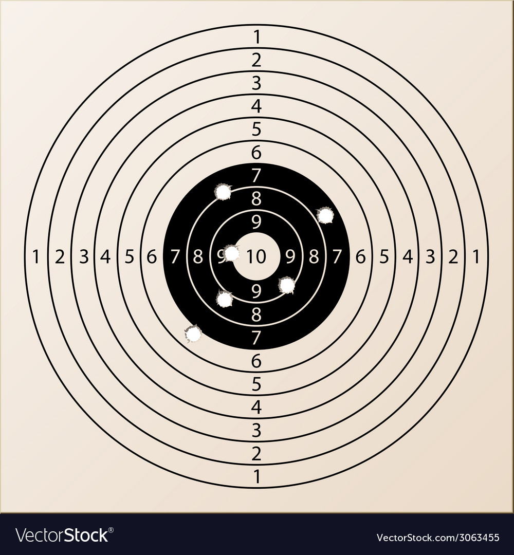 Paper rifle target with bullet holes vector | Price: 1 Credit (USD $1)