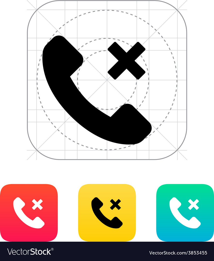 Phone call cancel icon vector | Price: 1 Credit (USD $1)