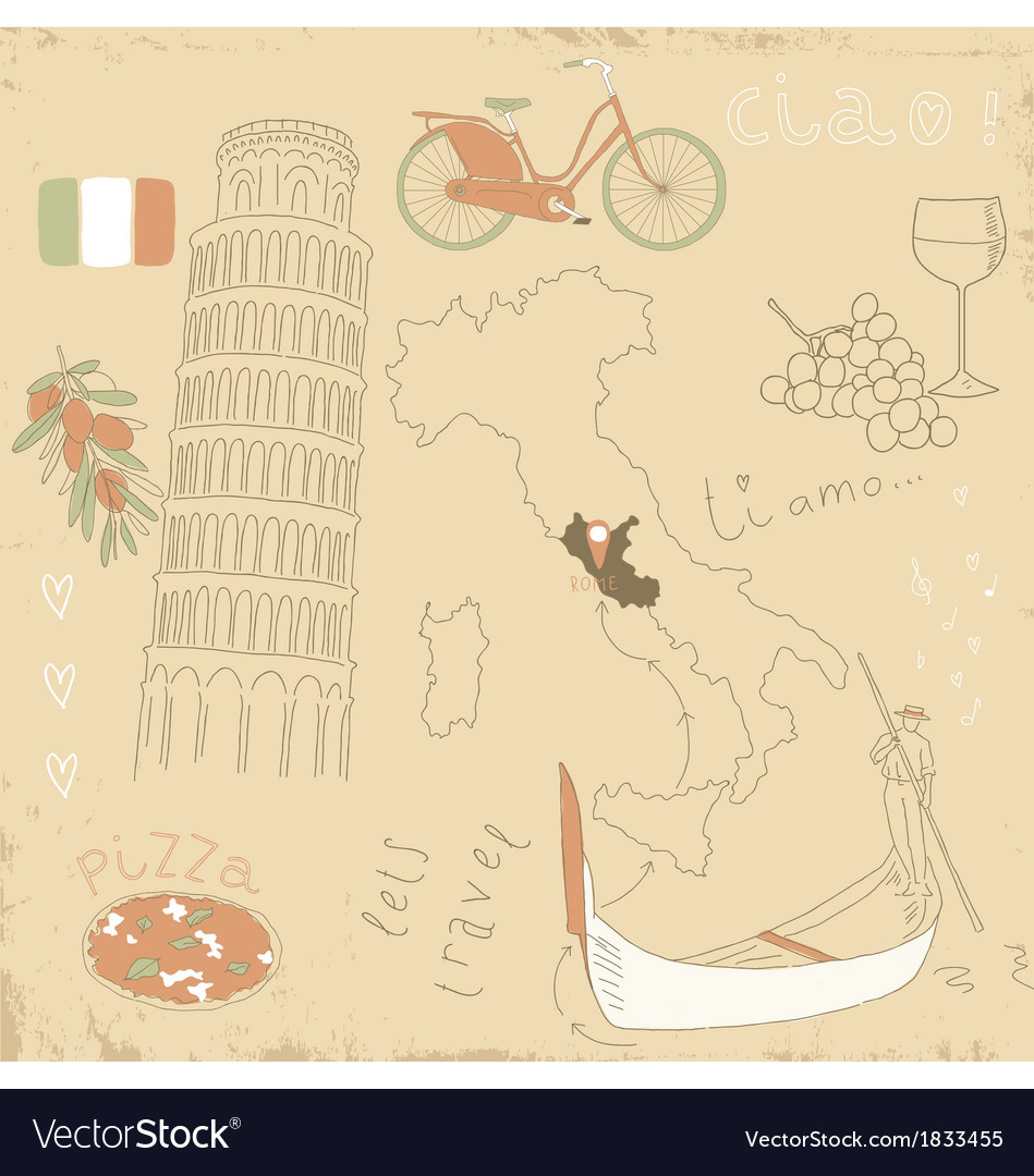 Set of italy symbols vector | Price: 1 Credit (USD $1)
