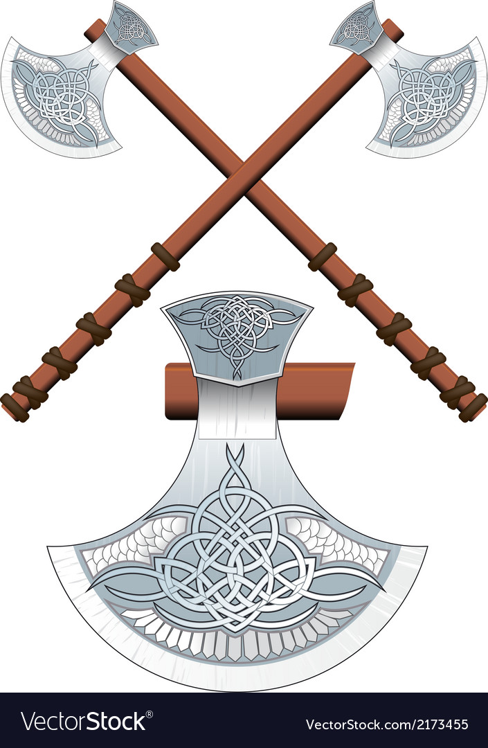 Two crossed celtic ax vector | Price: 1 Credit (USD $1)