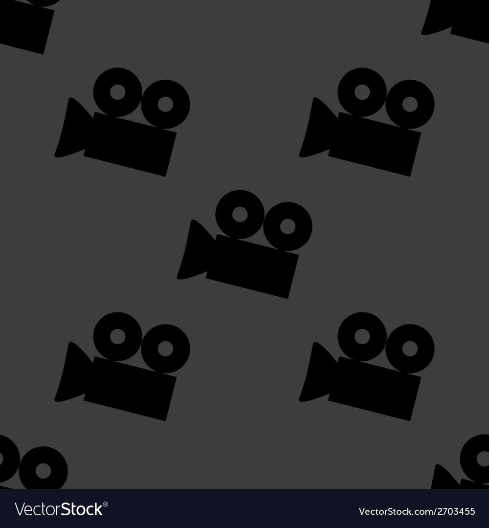 Video-camera web icon flat design seamless gray vector | Price: 1 Credit (USD $1)