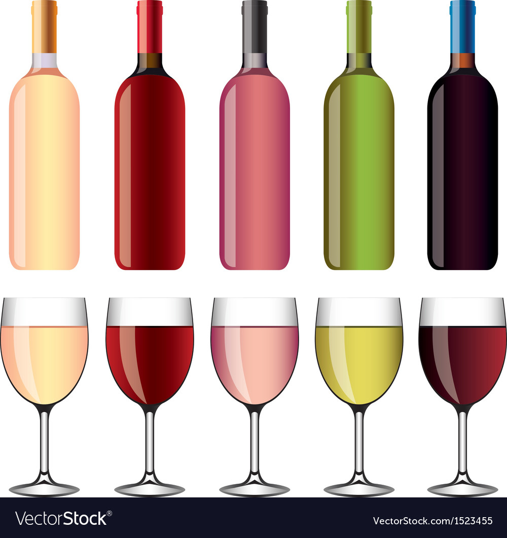 Wine and wineglasses set vector | Price: 1 Credit (USD $1)