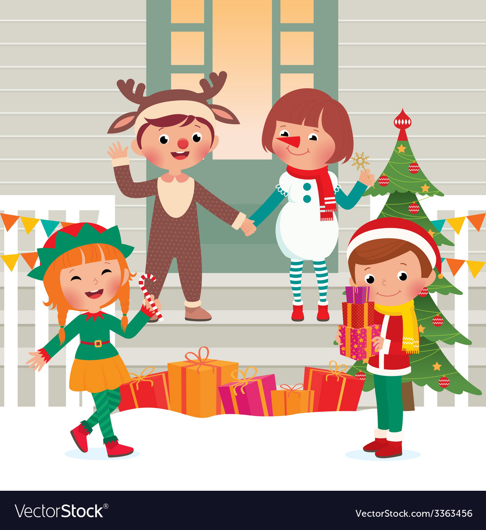 Children on the doorstep in christmas costumes vector | Price: 1 Credit (USD $1)