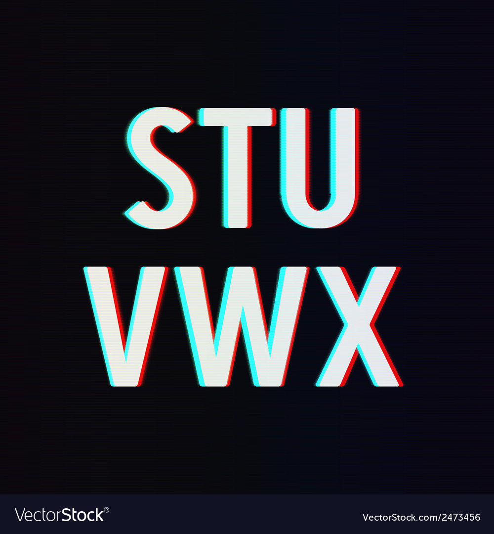 Font with tv stereo effect from s to x vector | Price: 1 Credit (USD $1)