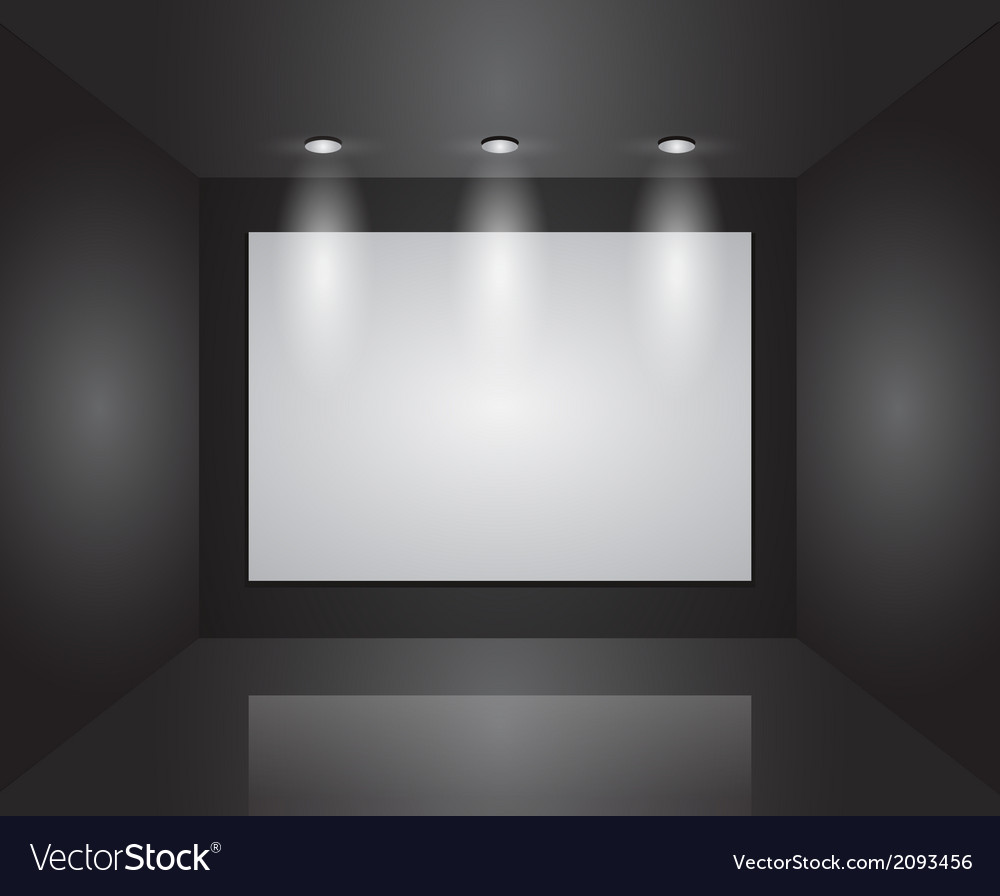 Gallery interior with empty frames on wall vector | Price: 1 Credit (USD $1)