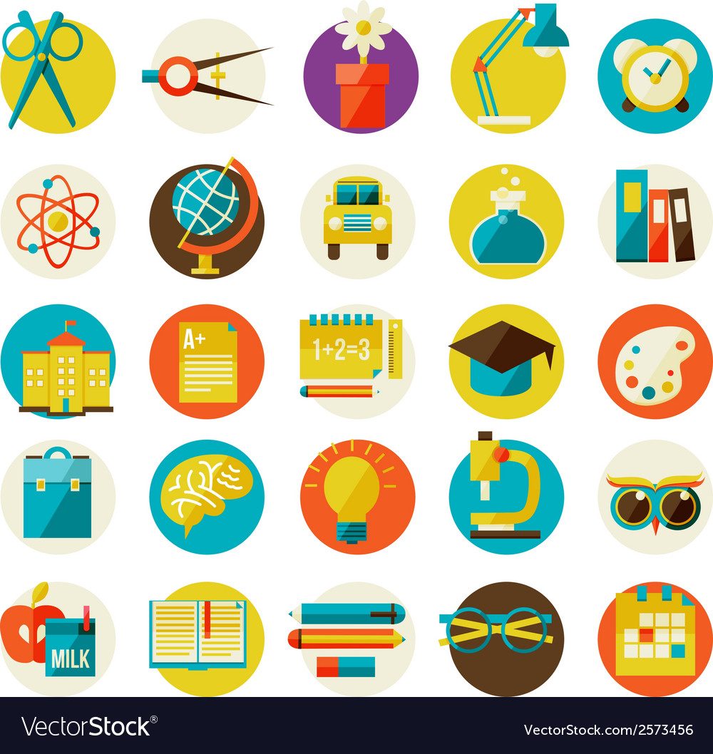 Set of flat school icons vector | Price: 1 Credit (USD $1)