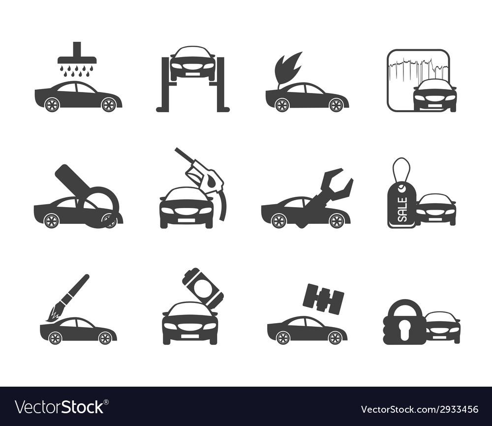 Silhouette car and automobile service icon vector | Price: 1 Credit (USD $1)