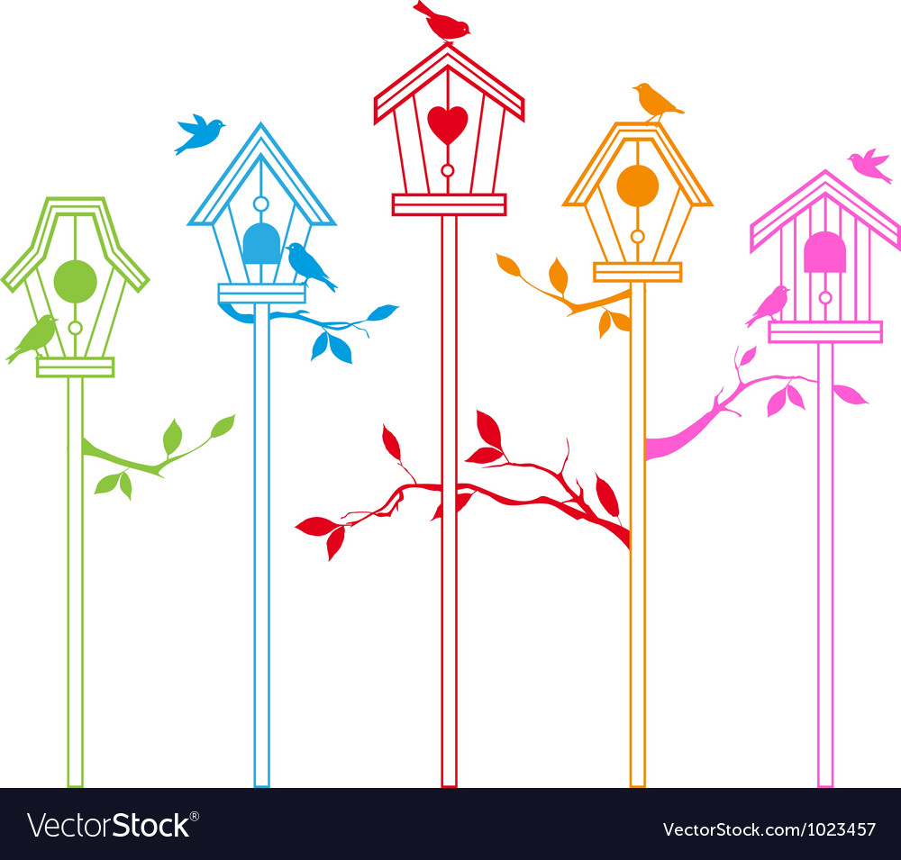 Birds with houses vector | Price: 1 Credit (USD $1)