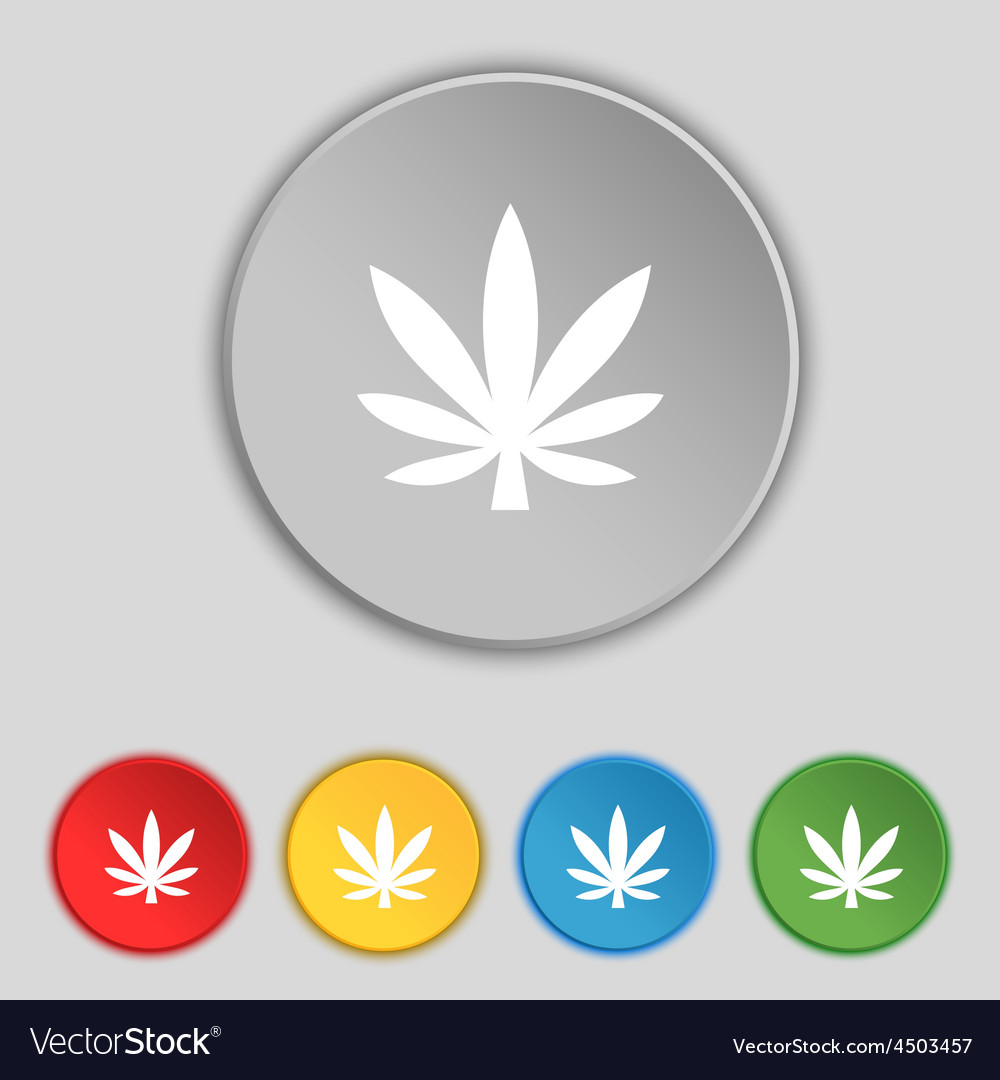 Cannabis leaf icon sign symbol on five flat vector | Price: 1 Credit (USD $1)