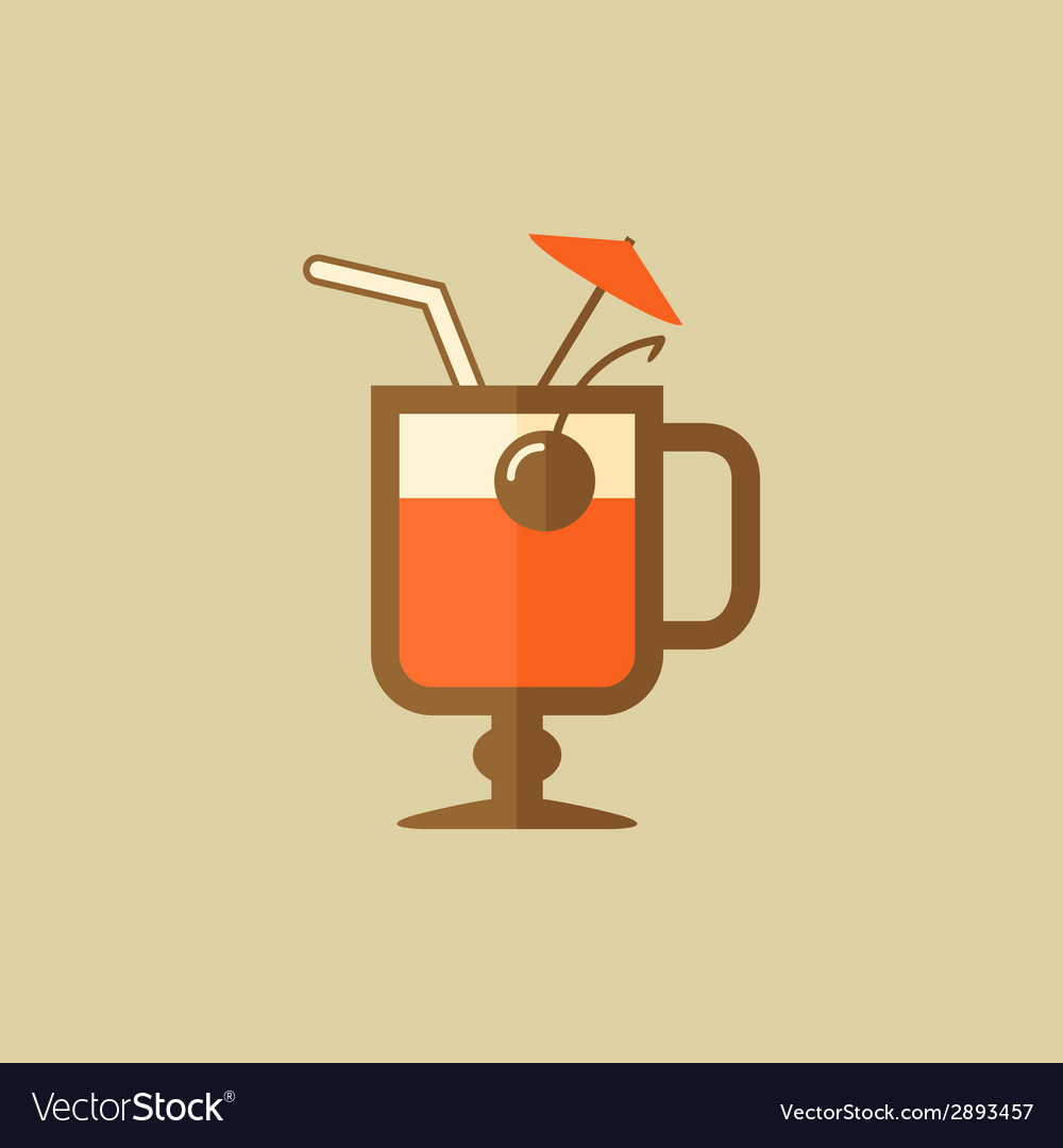 Cocktail drink flat icon vector | Price: 1 Credit (USD $1)