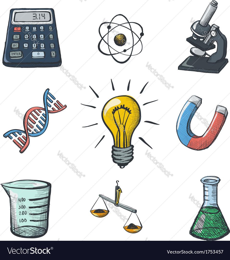 Color science icons sketch vector | Price: 1 Credit (USD $1)
