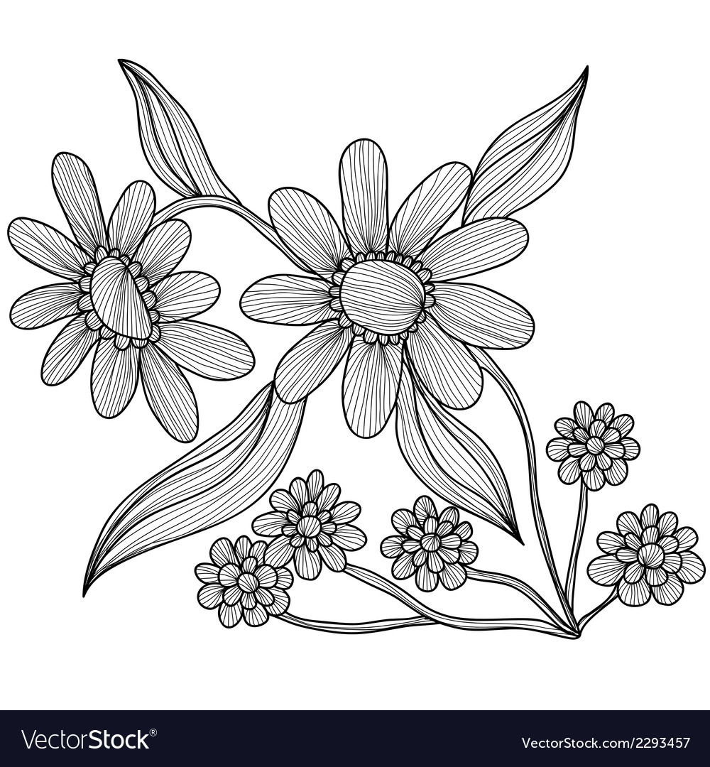Decorative camomiles vector | Price: 1 Credit (USD $1)