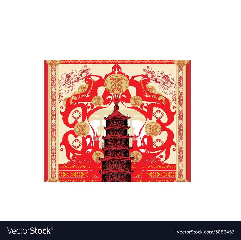 Decorative card with abstraction asian building vector