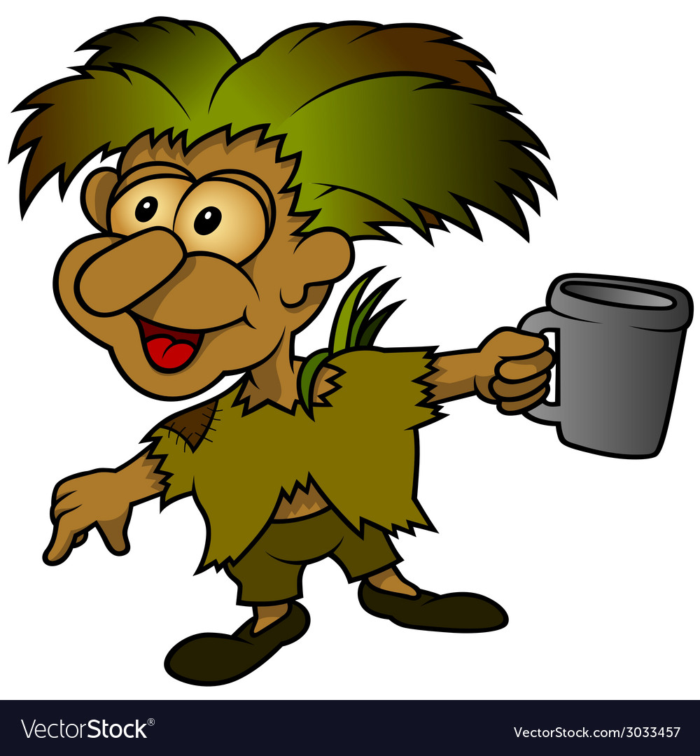 Forest elf holding cup vector | Price: 1 Credit (USD $1)