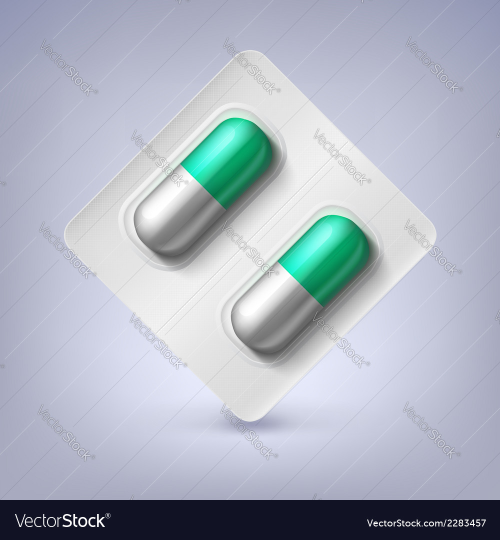 Green and white capsules in a blister pack vector | Price: 1 Credit (USD $1)