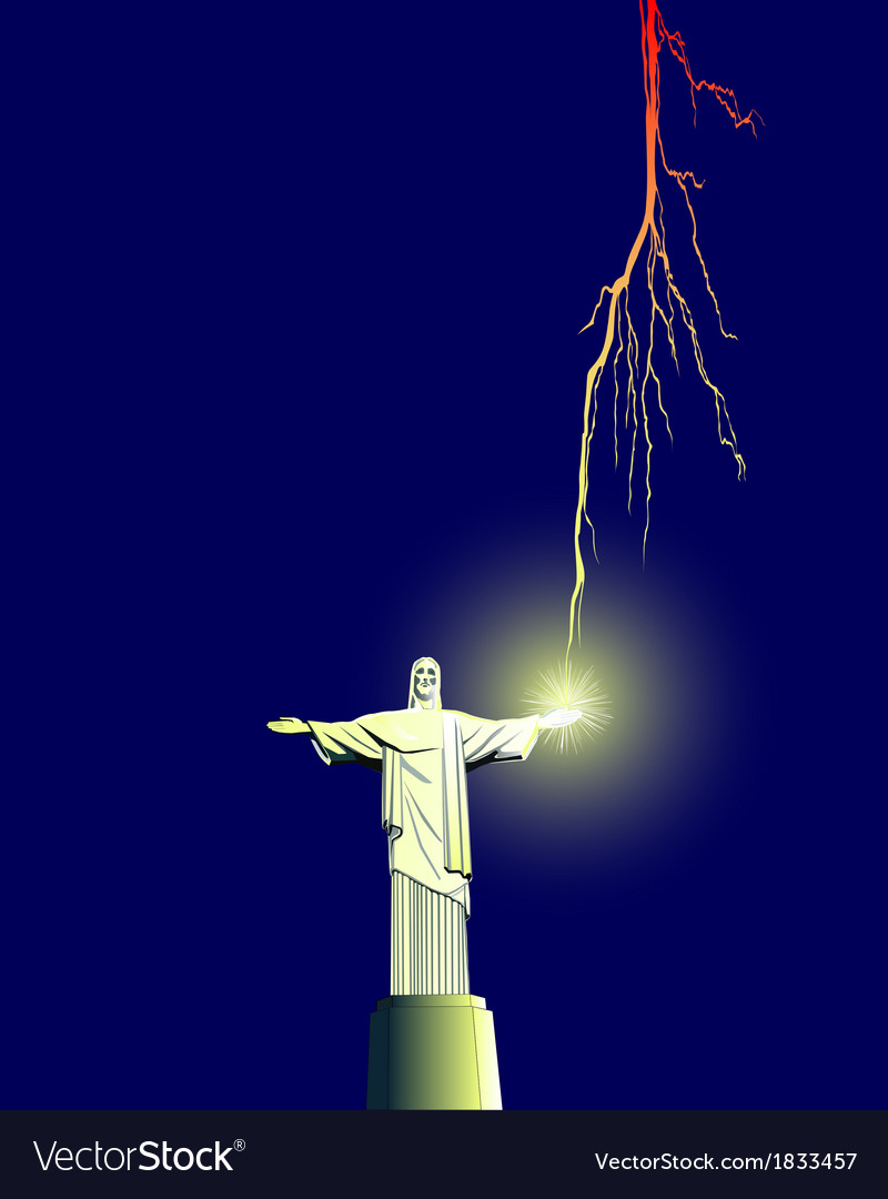 Redeemer statue in brazil vector | Price: 1 Credit (USD $1)