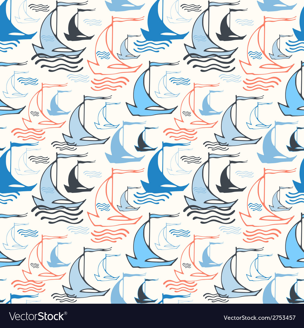 Seamless nautical pattern with sailing boats vector | Price: 1 Credit (USD $1)
