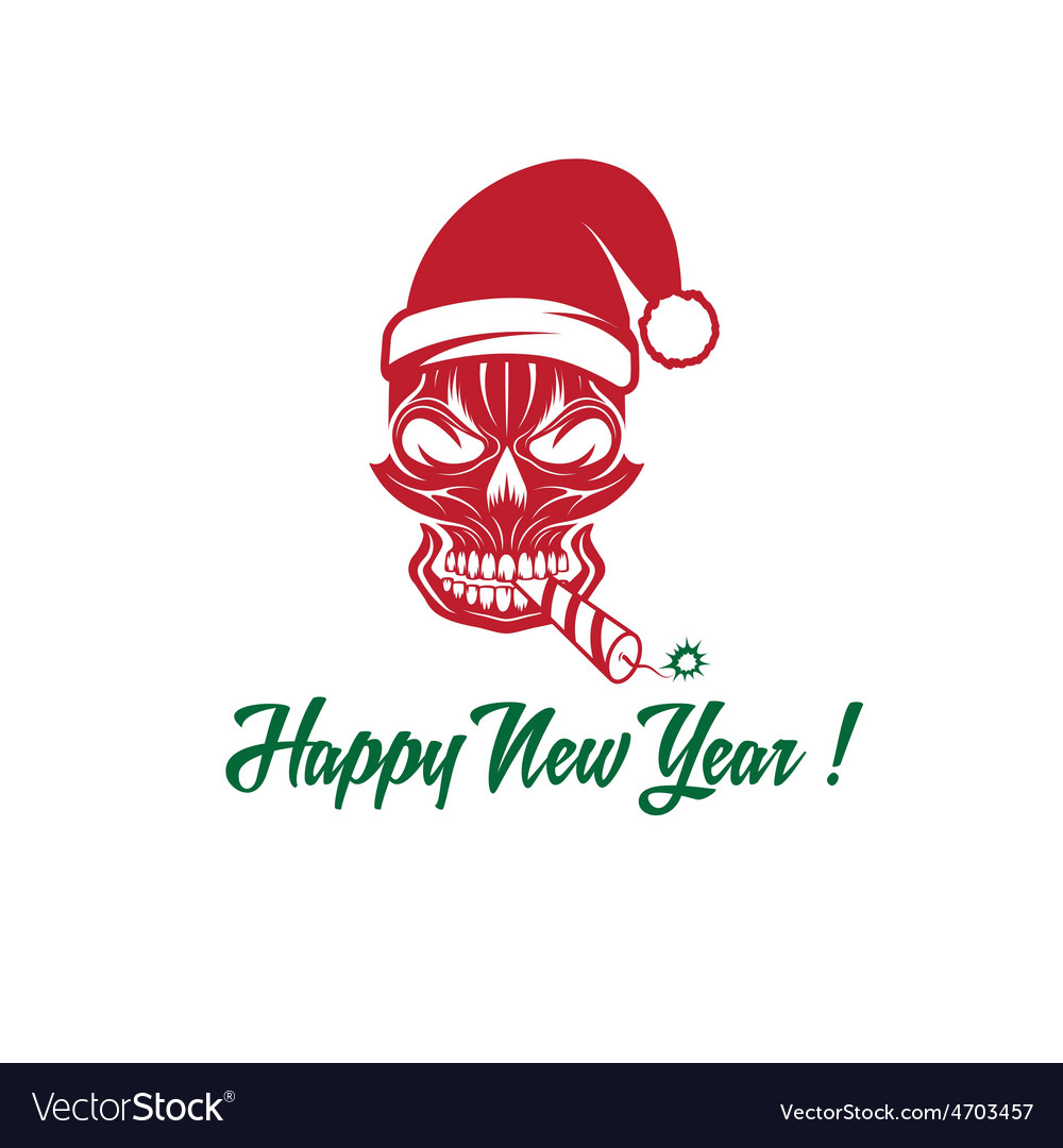 Skull with a cracker in his mouth and a santa vector | Price: 1 Credit (USD $1)