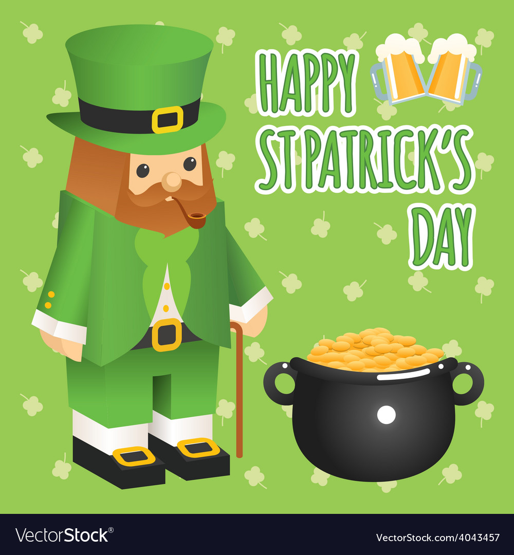 St patricks day leprechaun in 3d flat style with vector | Price: 1 Credit (USD $1)