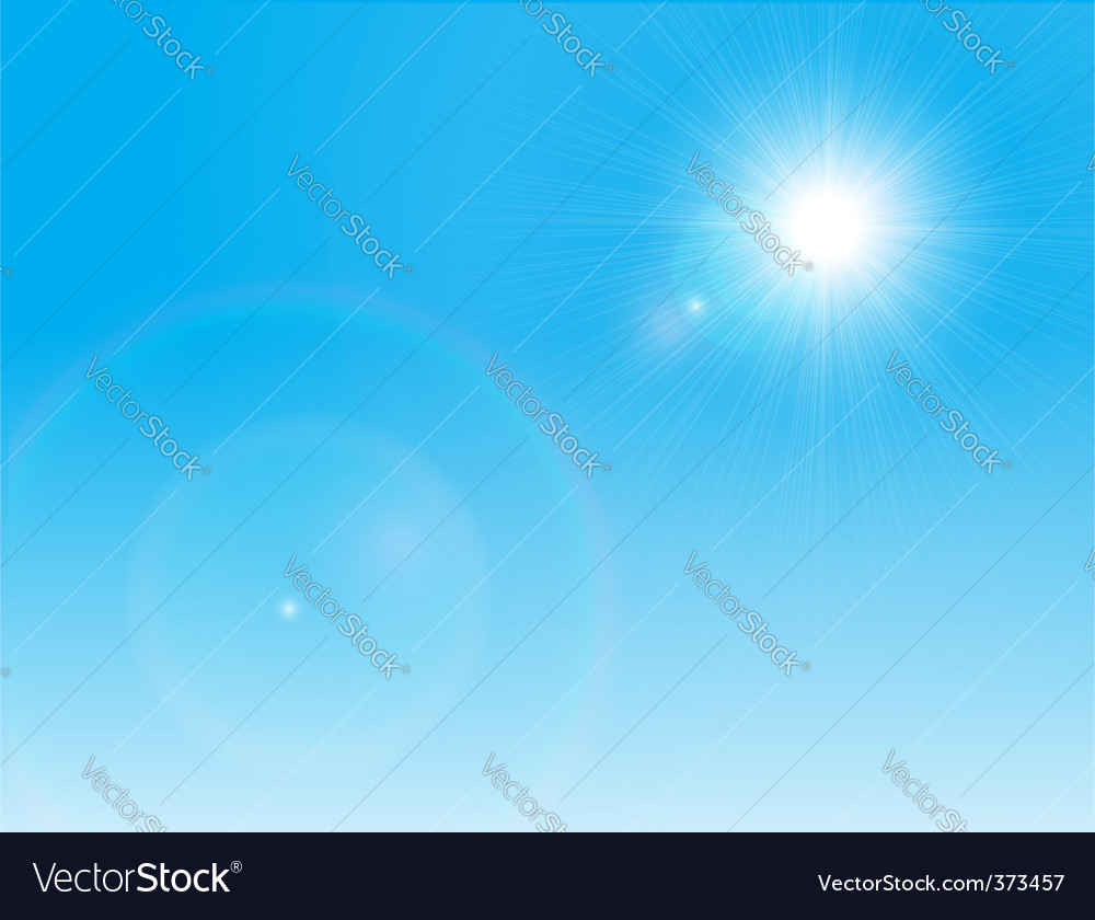 Sun on a clear sky vector | Price: 1 Credit (USD $1)