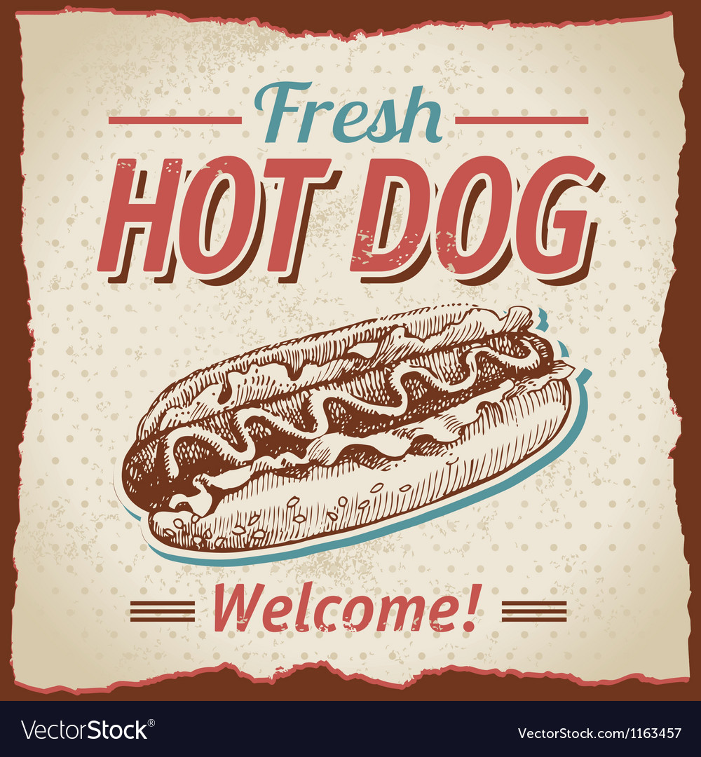 Vintage hot dogs background vector | Price: 1 Credit (USD $1)