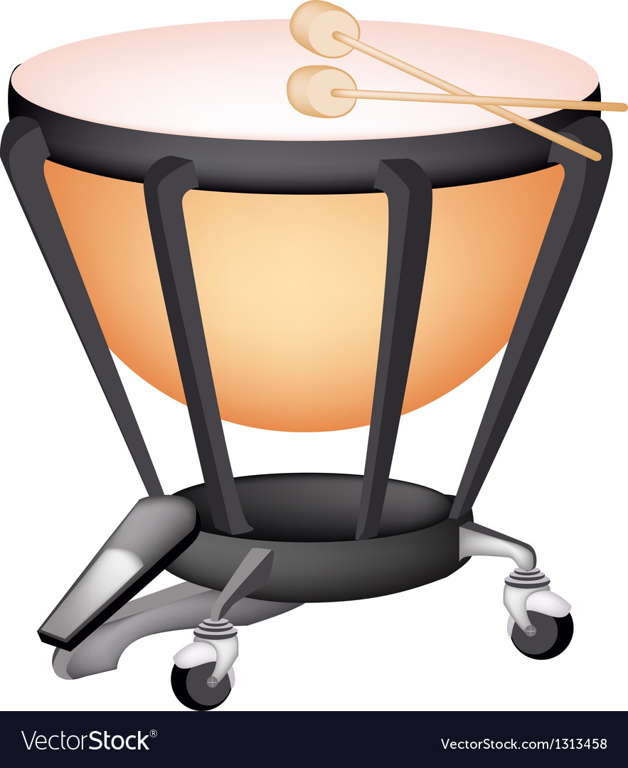 A beautiful classical timpani on white background vector | Price: 1 Credit (USD $1)