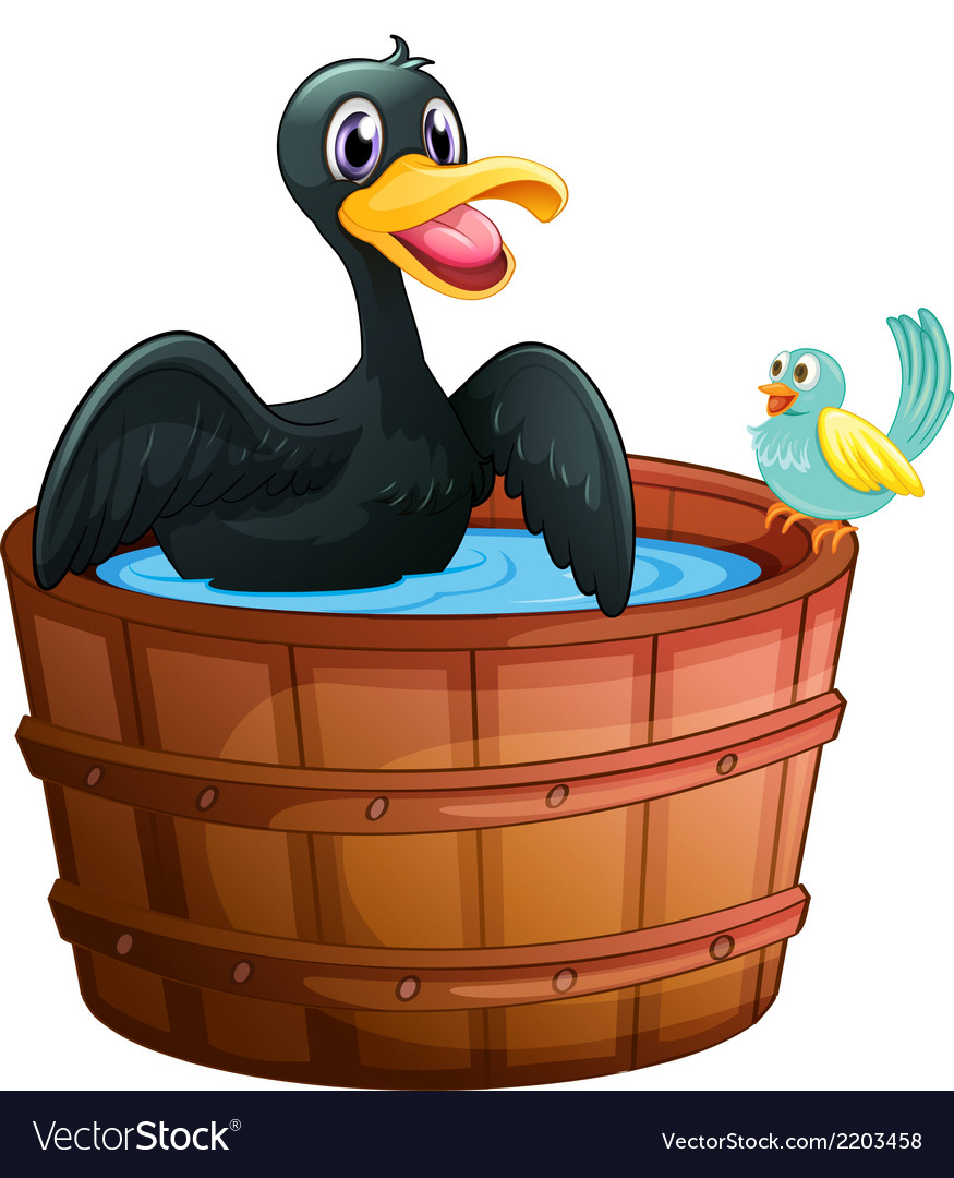 A duck and a bird at the bathtub vector | Price: 1 Credit (USD $1)