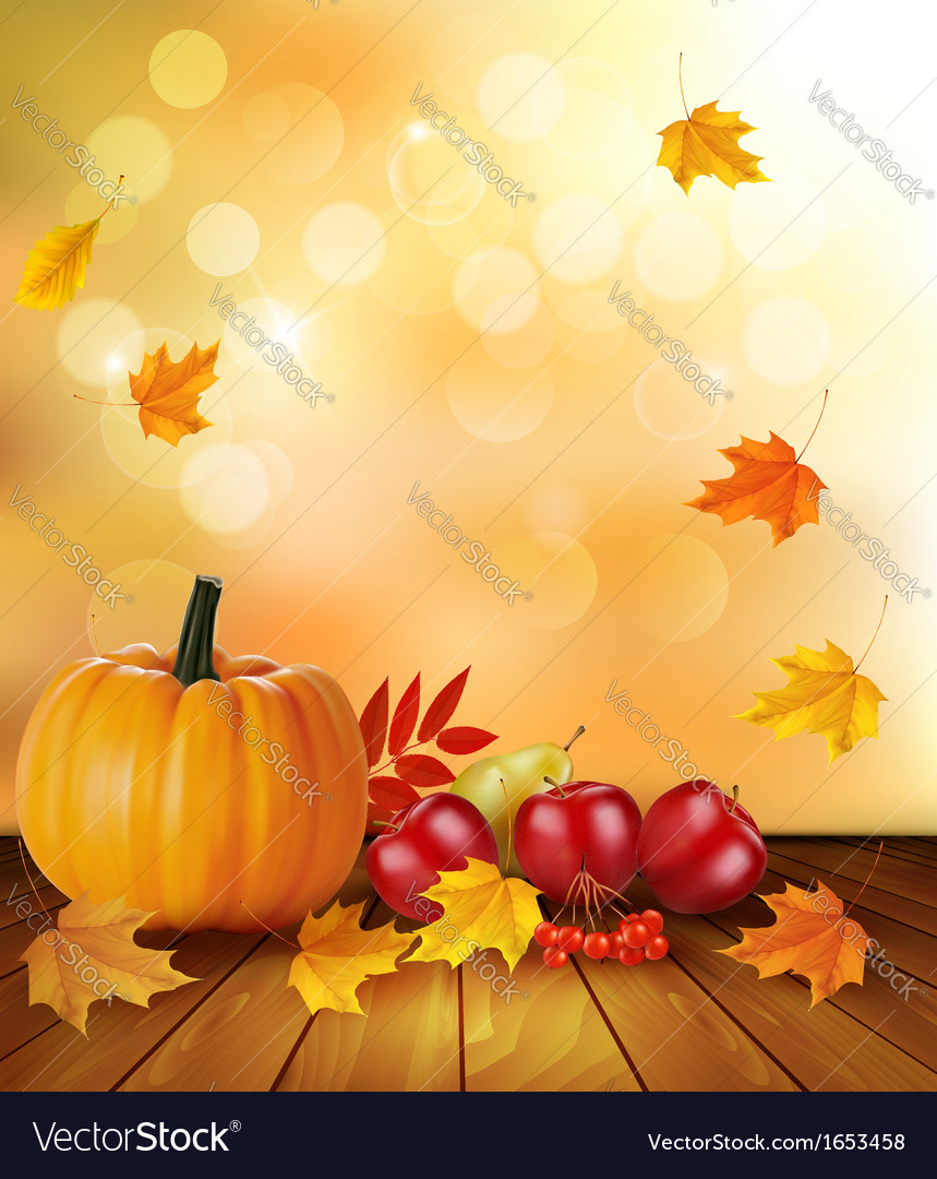 Autumn background with fresh fruit and leaves vector | Price: 1 Credit (USD $1)