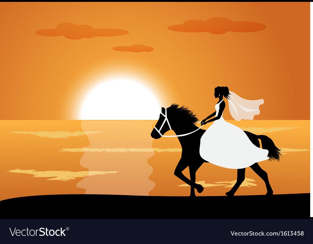 Bride rides a horse vector | Price: 1 Credit (USD $1)