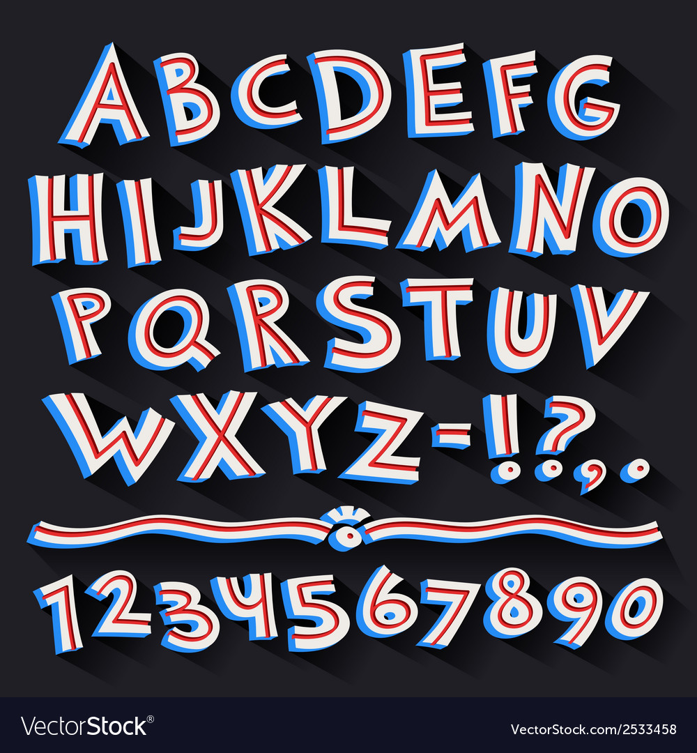 Cartoon retro 3d font with strips on black vector | Price: 1 Credit (USD $1)