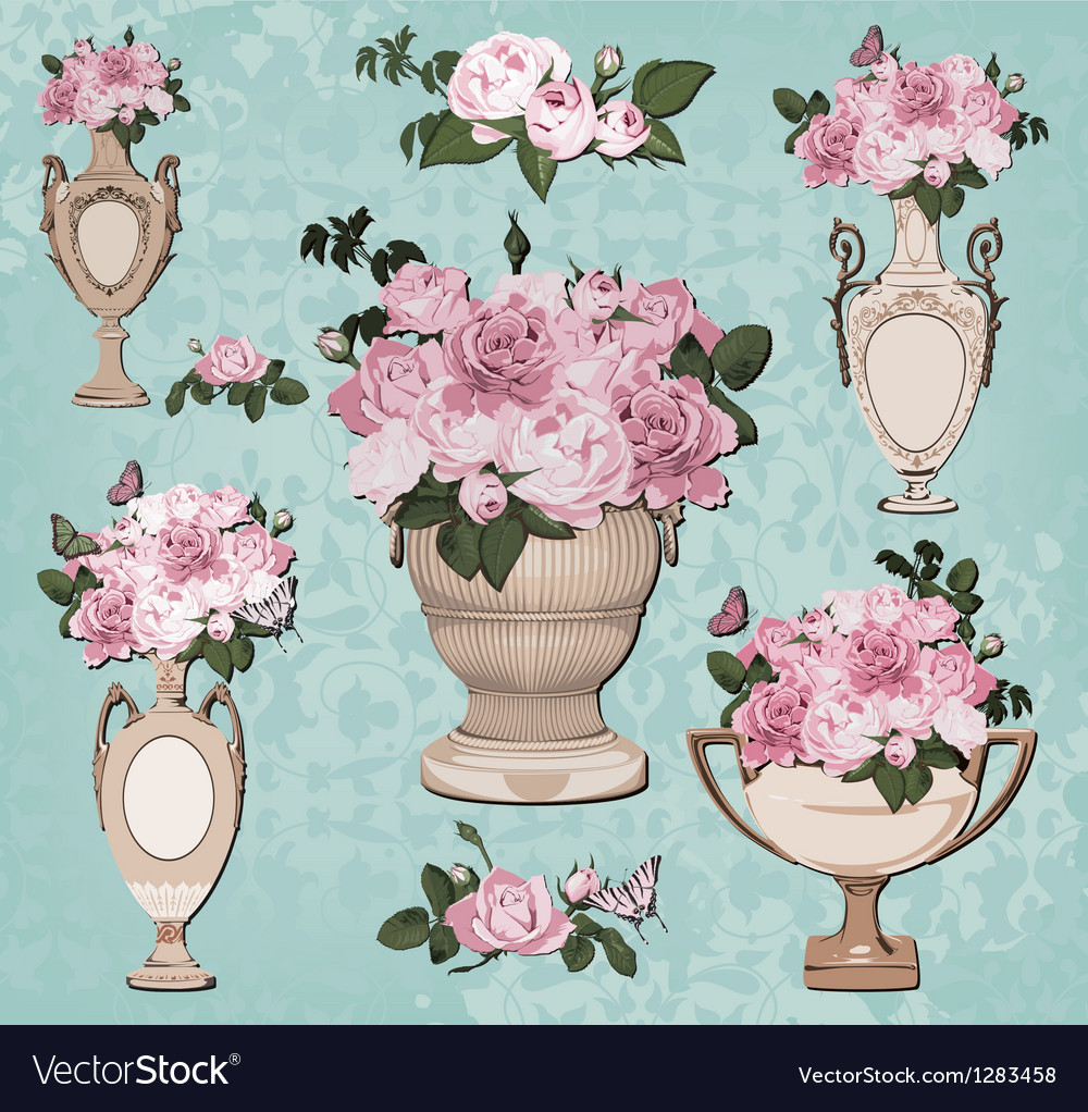 Collection of vases roses on blue background vector | Price: 3 Credit (USD $3)
