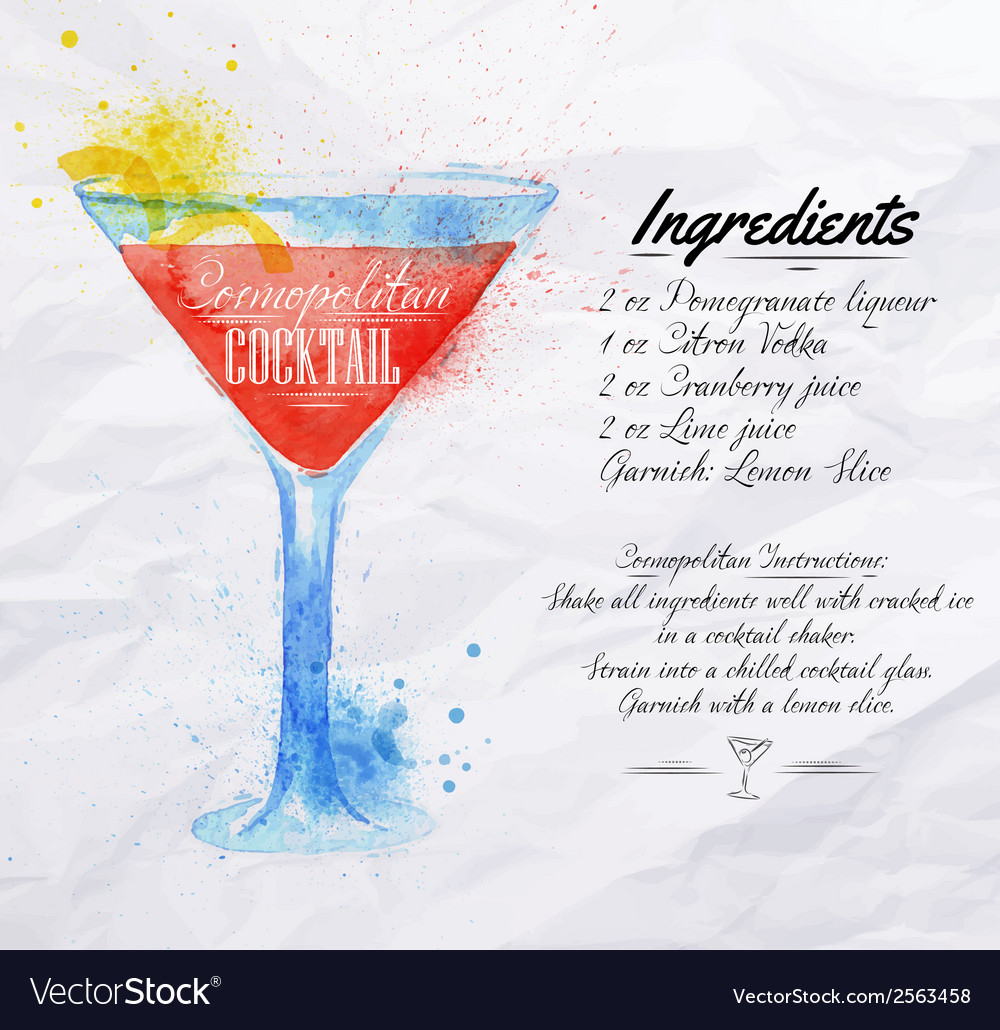 Cosmopolitan cocktails watercolor vector