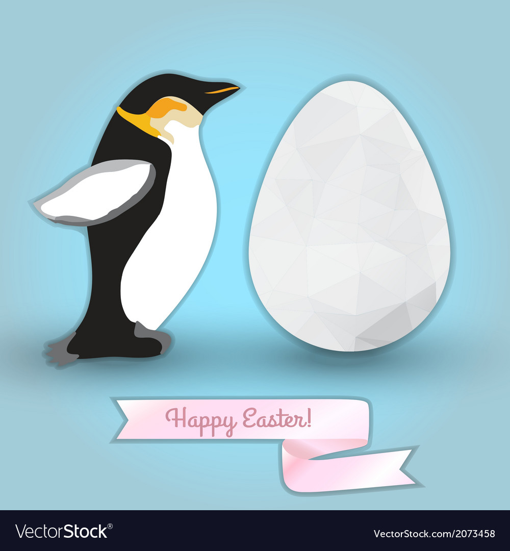 Egg and penguin congratulation with easter vector | Price: 1 Credit (USD $1)