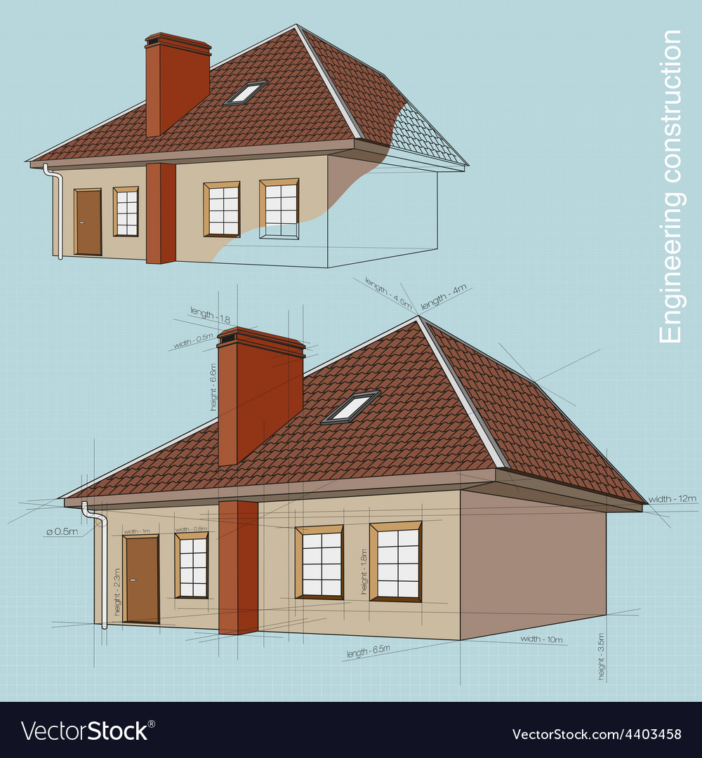 Engineering construction of buildings drawings vector | Price: 1 Credit (USD $1)