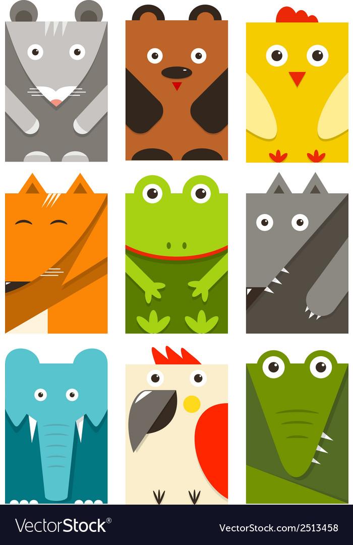 Flat childish rectangular animals set vector | Price: 1 Credit (USD $1)