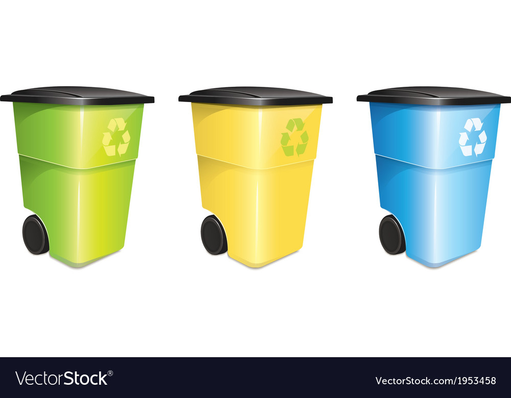 Garbage container set vector | Price: 1 Credit (USD $1)