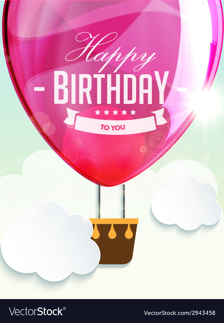 Happy birthday balloons greeting card deep rose vector | Price: 1 Credit (USD $1)