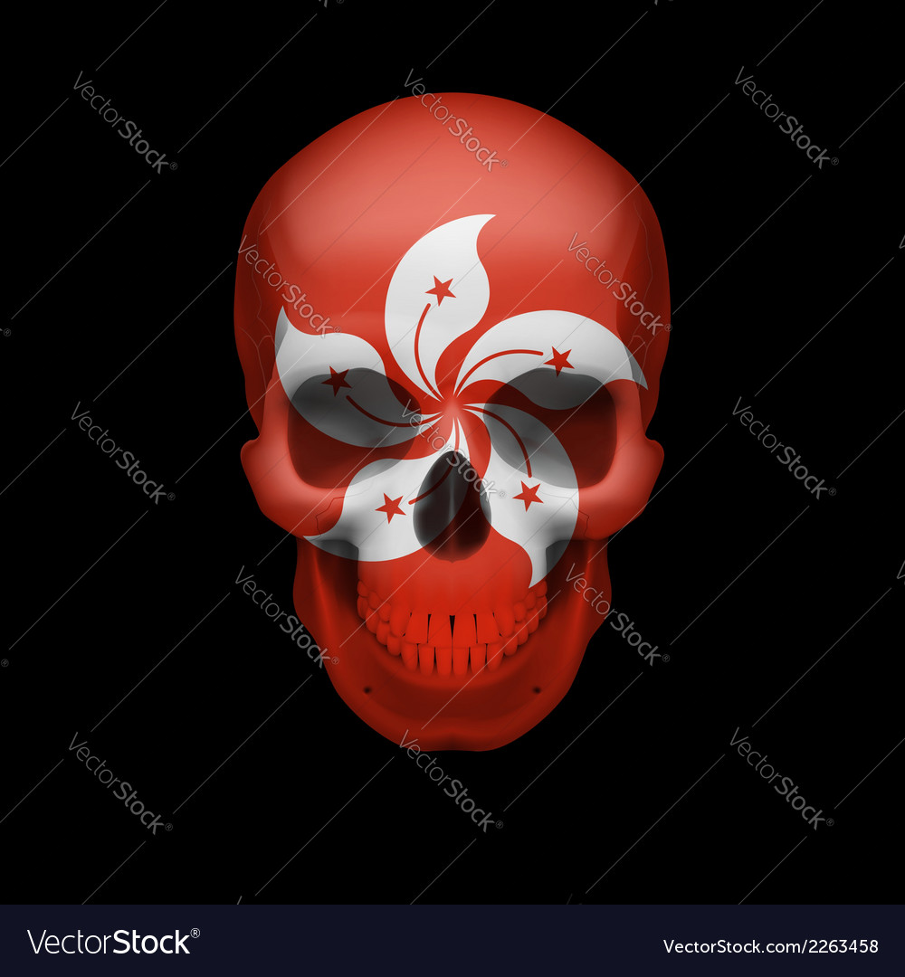Hong kong flag skull vector | Price: 1 Credit (USD $1)