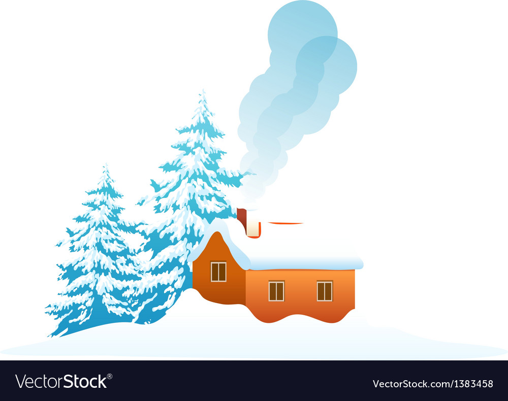 Icon house in the snow vector | Price: 1 Credit (USD $1)