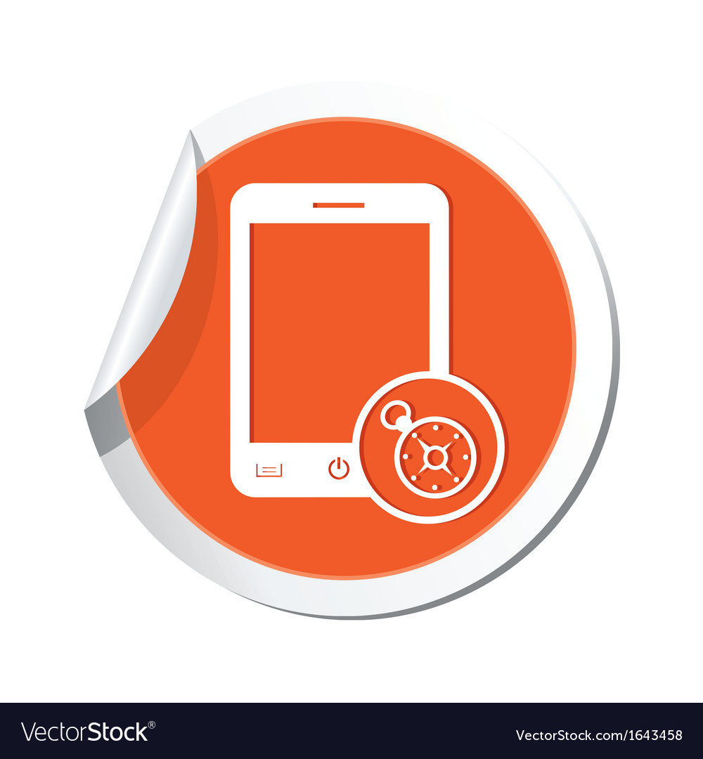 Phone compass icon orange sticker vector | Price: 1 Credit (USD $1)