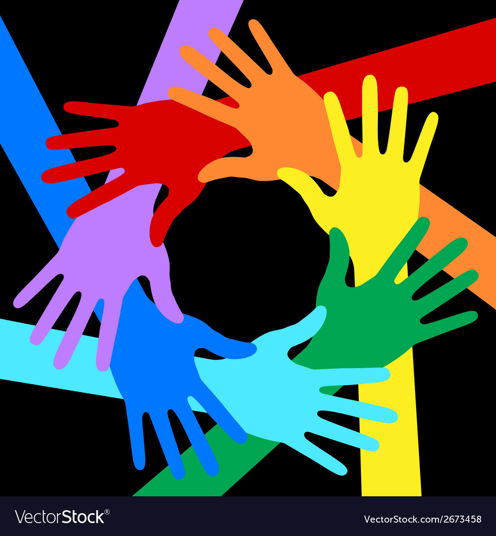 Rainbow colors hands icon on black background vector | Price: 1 Credit (USD $1)
