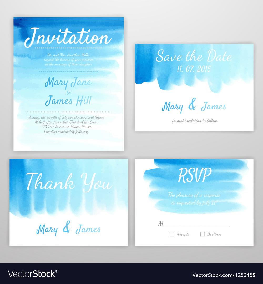 Set invitation watercolor vector | Price: 1 Credit (USD $1)